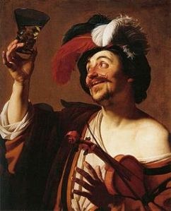 Gerard van Honthorst - The Happy Violinist with a Glass of Wine, 1624